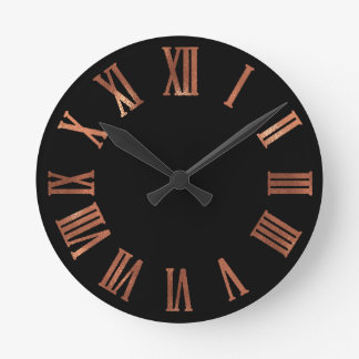 Black Copper Rose Gold Minimal Metallic Urban Round Clock
