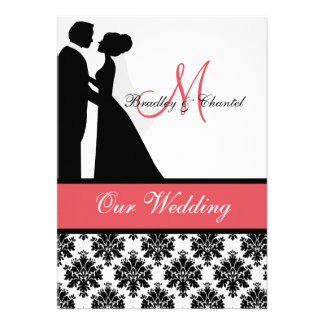 Black Coral and White Couple Wedding Invitation