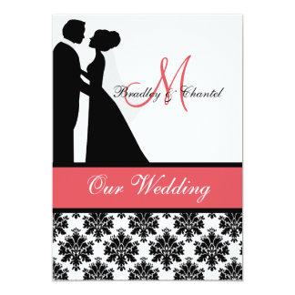 """Black, Coral, and White Couple Wedding Invitation 5"""" X 7"""" Invitation Card"""