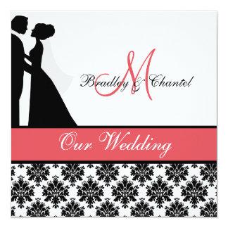 """Black, Coral, and White Couple Wedding Invitation 5.25"""" Square Invitation Card"""