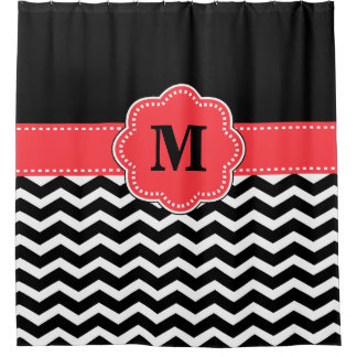 Black Coral chevron Monogram Shower Curtain