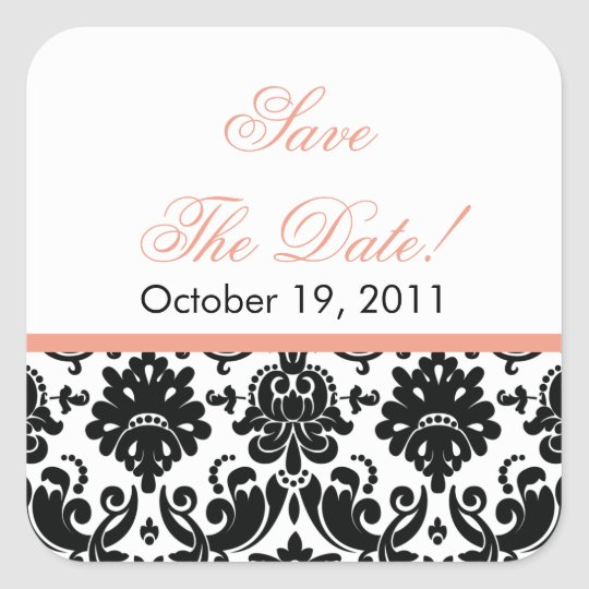 Black & Coral Damask Save the Date Wedding Sticker