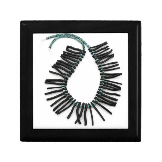 Black Coral Turquoise Necklace Southwest Jewelry Small Square Gift Box