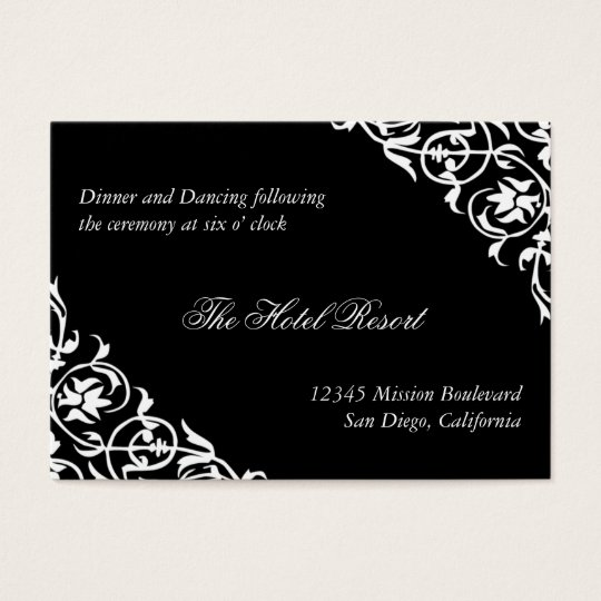 Black corner scroll wedding reception enclosure business card