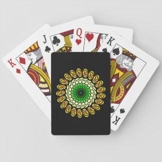 Black Cosmic Green Orange Geometric Spiral Cards