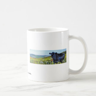 black cow & landscape painting basic white mug