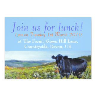 Black Cow & landscape painting Join us for lunch! 13 Cm X 18 Cm Invitation Card