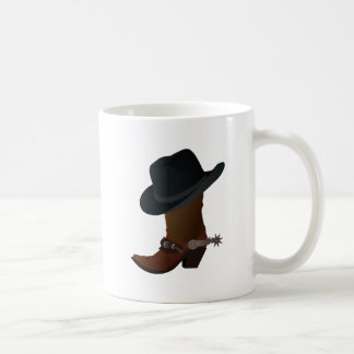 Black Cowboy Hat On Top of Leather Booth with Spur Basic White Mug