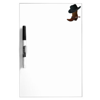 Black Cowboy Hat On Top of Leather Booth with Spur Dry Erase White Board