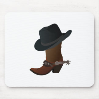 Black Cowboy Hat On Top of Leather Booth with Spur Mouse Pad