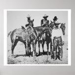 Black Cowboys at Bonham, Texas, c.1890 (b/w photo) Poster
