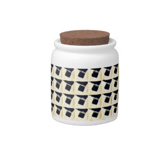 Black Cream Abstract Square Pattern Candy Dishes