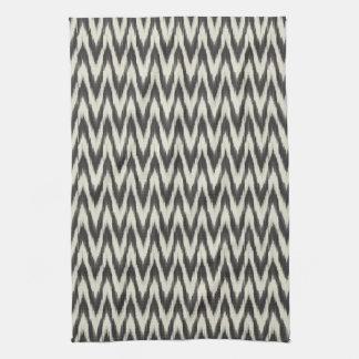 Black & Cream Ikat Waves Tea Towel