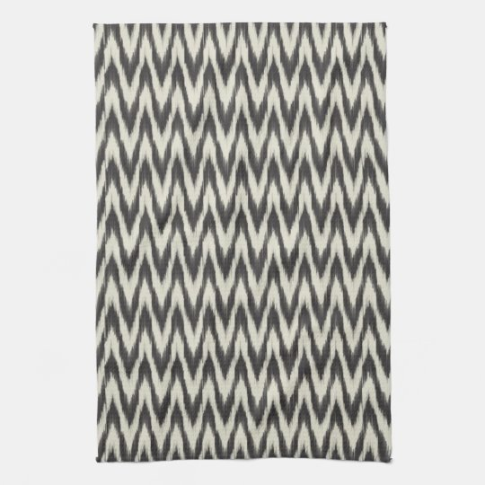 Black & Cream Ikat Waves Tea Towel