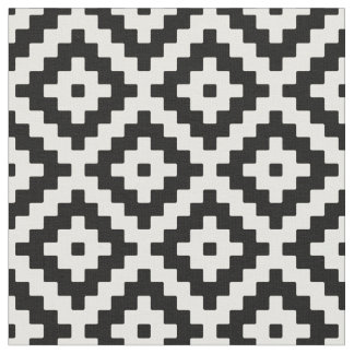Black & Cream Mayan Stepped Pattern Fabric