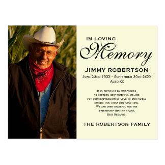 Black & Cream Memorial Family Acknowledgement Postcard