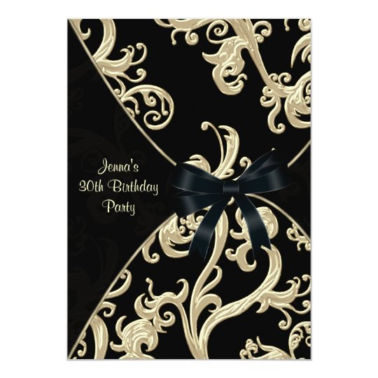 Black Cream Swirl 30th Birthday Party Invitation