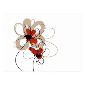 Black, Cream, White, Red Flowers Postcard