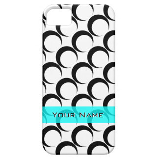Black Crescent Moons White add name on Turquoise iPhone 5 Cases