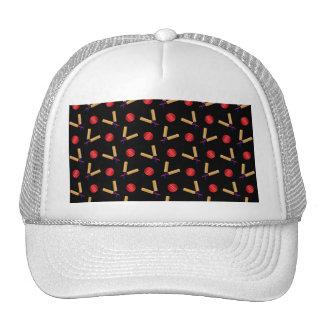 Black cricket pattern trucker hats