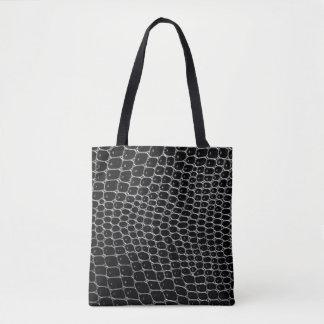 Black Crocodile-Print Tote