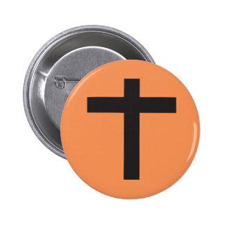 Black Cross 6 Cm Round Badge