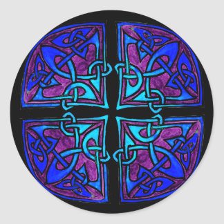 Black Cross Classic Round Sticker