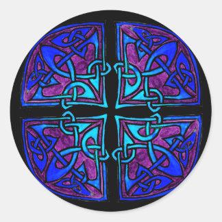 Black Cross Round Sticker