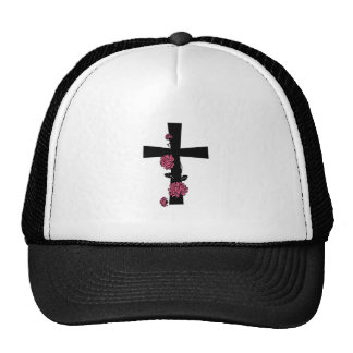 Black Cross with Pink Roses Cap