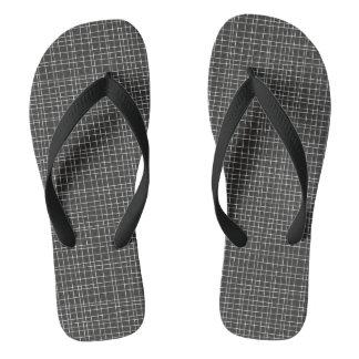 Black Crosshatch Flip Flops