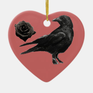 Black Crow and Black Rose ornament