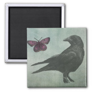 Black Crow and Butterfly magnet