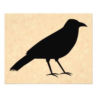 Black Crow Bird on a Parchment Pattern. 11.5 Cm X 14 Cm Flyer