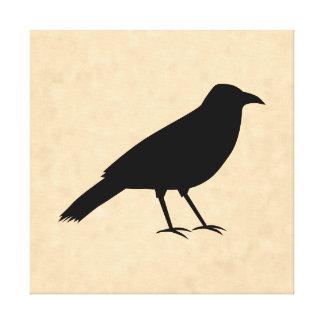 Black Crow Bird on a Parchment Pattern. Canvas Print