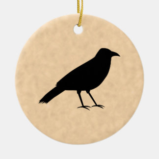 Black Crow Bird on a Parchment Pattern. Christmas Ornament