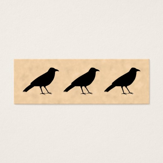 Black Crow Bird on a Parchment Pattern. Mini Business Card