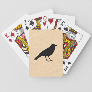 Black Crow Bird on a Parchment Pattern. Playing Cards