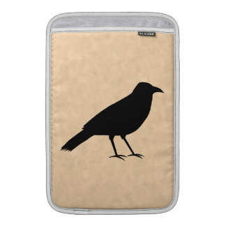 Black Crow Bird on a Parchment Pattern. Sleeve For MacBook Air