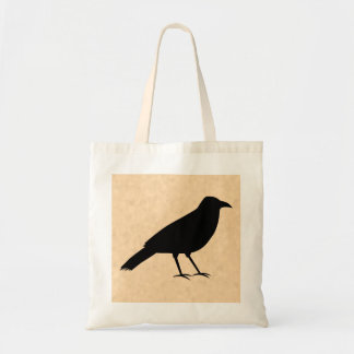 Black Crow Bird on a Parchment Pattern. Tote Bag