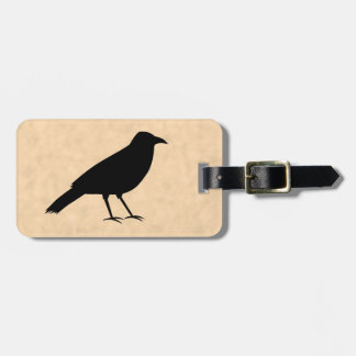 Black Crow Bird on a Parchment Pattern. Travel Bag Tag