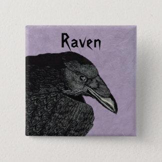 Black Crow Head shoulders Illustration on Purple 15 Cm Square Badge