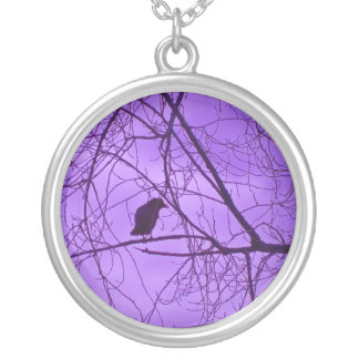 Black Crow Purple Sky Black Spooky Trees Silver Plated Necklace