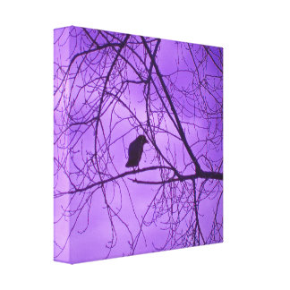 Black Crow Purple Sky Trees Photograph Canvas Print