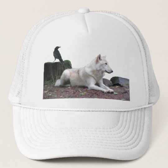 Black Crow, White Wolf Trucker Hat