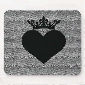 black crown crinkle hearts mouse pad