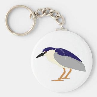 Black crowned night heron basic round button key ring