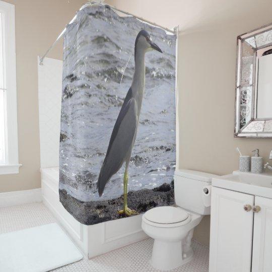 Black Crowned Night Heron Shower Curtain