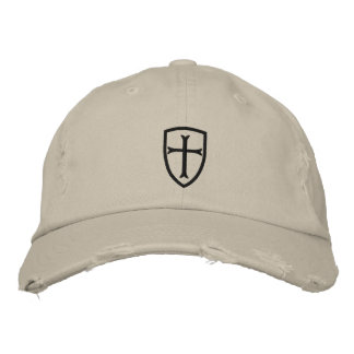Black Crusader Cross Shield Cap Embroidered Hats