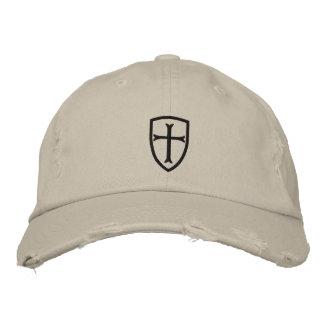 Black Crusader Cross Shield Cap Embroidered Hats