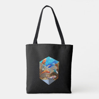 BLACK CUBED KOI TOTE BAG